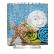 Colourful towels Shower Curtain by Amanda And Christopher Elwell