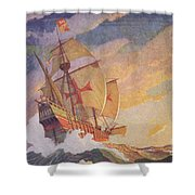 Columbus Crossing The Atlantic Shower Curtain by Newell Convers Wyeth
