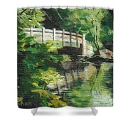 Concord River Bridge Shower Curtain by Claire Gagnon