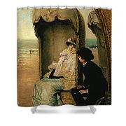 Confidences On The Beach Shower Curtain by Vincente Gonzalez Palmaroli