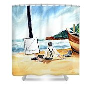 Contemplation Shower Curtain by Anil Nene