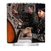 Control Technicians Use Radarscopes Shower Curtain by Stocktrek Images