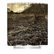 Corrugated Tin Pen Shower Curtain by Meirion Matthias