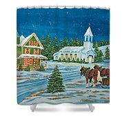 Country Christmas Shower Curtain by Charlotte Blanchard