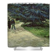 Couple In The Park Shower Curtain by Vincent Van Gogh