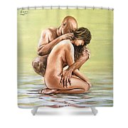 Couple Shower Curtain by Natalia Tejera