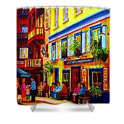 COURTYARD CAFES Shower Curtain by CAROLE SPANDAU