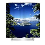 Crater Lake Shower Curtain by Allan Seiden - Printscapes