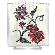 Crayon Flowers Shower Curtain by Sarah Loft