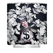 Crazy Clown Excited To Hold A Bag Of Money Shower Curtain by Jorgo Photography - Wall Art Gallery