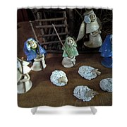 Creche Shepards And Sheep Shower Curtain by Nancy Griswold