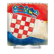 Croatia Flag Shower Curtain by Setsiri Silapasuwanchai