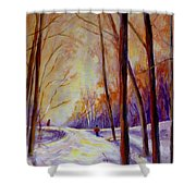 Cross Country Sking St. Agathe Quebec Shower Curtain by Carole Spandau