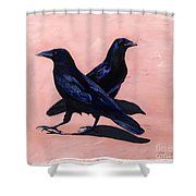 Crows Shower Curtain by Sandi Baker