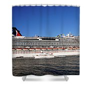 Cruise Ship Is Leaving The Port Shower Curtain by Susanne Van Hulst