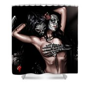 Cure my Tragedy Shower Curtain by Pete Tapang