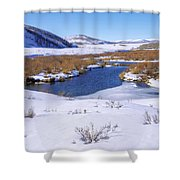 Currant Creek On Ice Shower Curtain by Chad Dutson