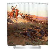 Custer's Last Stand Shower Curtain by Richard Lorenz
