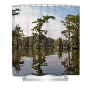 Cypress Trees And Spanish Moss In Lake Martin Shower Curtain by Louise Heusinkveld