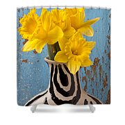 Daffodils In Wide Striped Vase Shower Curtain by Garry Gay
