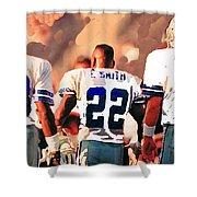 Dallas Cowboys Triplets Shower Curtain by Paul Van Scott