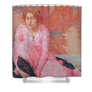 Dame En Rose Shower Curtain by Edmond Francois Aman Jean