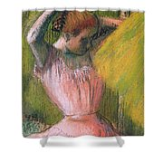 Dancer Arranging Her Hair Shower Curtain by Edgar Degas