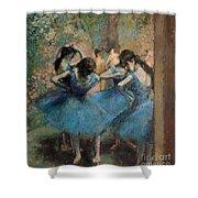 Dancers In Blue Shower Curtain by Edgar Degas