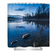 Dawn at river Shower Curtain by Davorin Mance