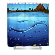 Desert Dolphins Close  Shower Curtain by Lance Headlee