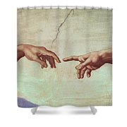 Detail from The Creation of Adam Shower Curtain by Michelangelo