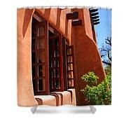 Detail Of A Pueblo Style Architecture In Santa Fe Shower Curtain by Susanne Van Hulst