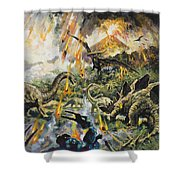 Dinosaurs And Volcanoes Shower Curtain by English School