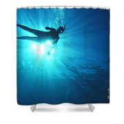 Diver On Mahi Wreck Shower Curtain by Bob Abraham - Printscapes