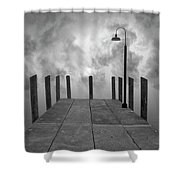 Dock And Clouds Shower Curtain by Dave Gordon