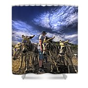 Donkey Rides Shower Curtain by Meirion Matthias