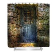 Door - A Rather Old Door Leading To Somewhere Shower Curtain by Mike Savad