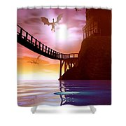 Dragon Manor Shower Curtain by Cynthia Decker