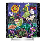 Dragonfly And Unicorn Shower Curtain by Genevieve Esson