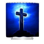 Dramatic Jesus Crucifixion Shower Curtain by Pamela Johnson