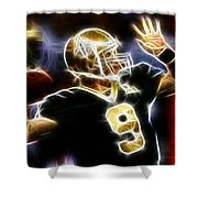 Drew Brees New Orleans Saints Shower Curtain by Paul Van Scott