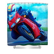 Ducati 916 Shower Curtain by Brian  Commerford