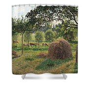 Dusk At Eragny Shower Curtain by Camille Pissarro