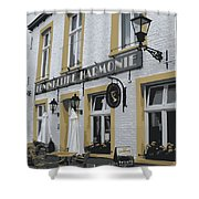 Dutch Cafe - Digital Shower Curtain by Carol Groenen