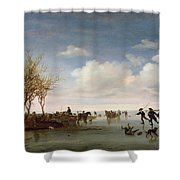 Dutch Landscape With Skaters Shower Curtain by Salomon van Ruysdael