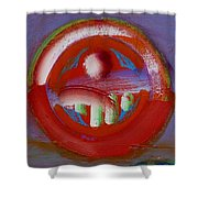 Earth Button Shower Curtain by Charles Stuart