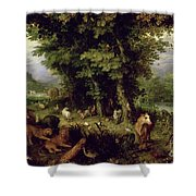 Earth Or The Earthly Paradise Shower Curtain by Jan the Elder Brueghel