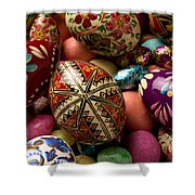 Easter Eggs Shower Curtain by Garry Gay