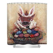 Easter Hog Shower Curtain by Nadine Rippelmeyer