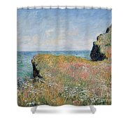 Edge of the Cliff Pourville Shower Curtain by Claude Monet